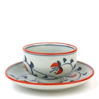 Blue Cherry Cup and Saucer Set
