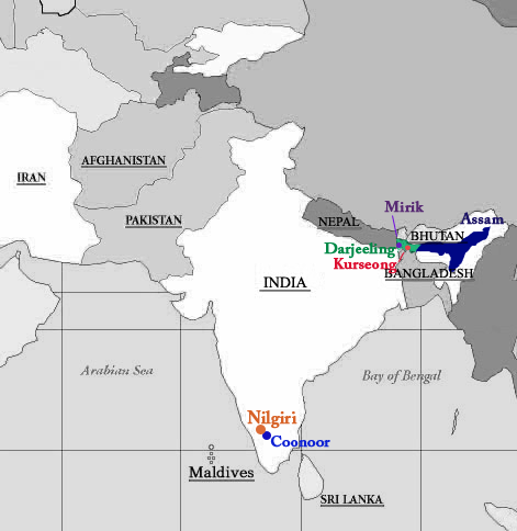 Tea Map India The Tao Of Tea - Map of teas