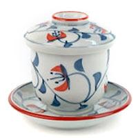 Blue Cherry Lidded Teacup and Saucer Set