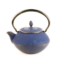 Blue Nailhead Cast Iron Teapot