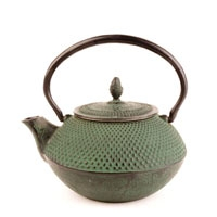 Green Nailhead Cast Iron Teapot