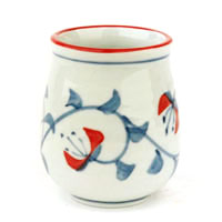 Blue Cherry Earthenware Tea Cup