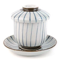 Pinstriped Tea Cup with Lid and Saucer Set
