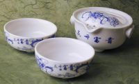 tea brewing cup set, white floral